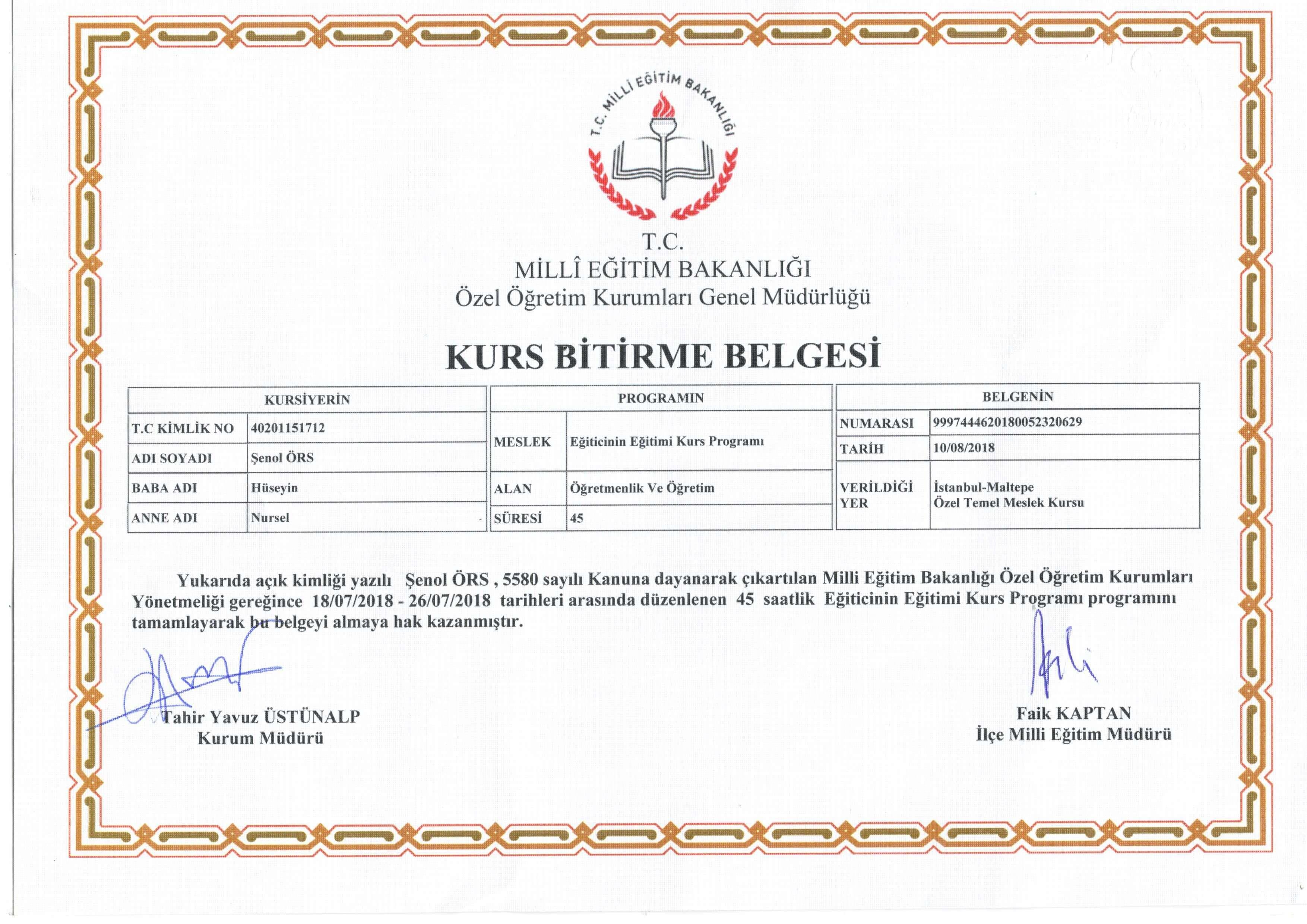meb sertifika
